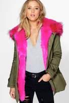 boohoo Boutique Maria Faux Fur Trim Parka
