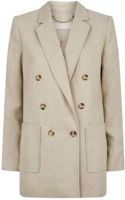 Michael Kors Double-Breasted Linen Blazer
