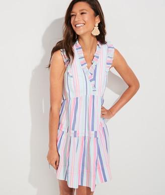 Vineyard Vines Boca Grande Stripe Tiered Ruffle Dress