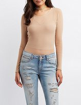 Charlotte Russe Mesh Overlay Crew Neck Top