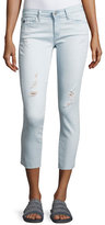 AG Adriano Goldschmied Cropped Distressed Denim Jeans, Indigo