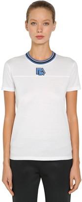 Prada Logo Cotton T-shirt W/ Striped Collar