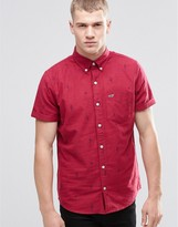 Hollister Oxford Shirt With Short Sleeves In Slim Fit Cactus Print