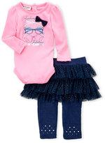 Juicy Couture Newborn Girls) Two-Piece Sunglass Bow Bodysuit & Ruffle Tulle Leggings