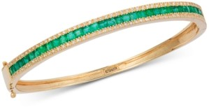 Effy Emerald (2-1/2 ct. t.w.) & Diamond (3/8 ct. t.w.) Link Bracelet in 14k Gold