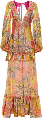 Dundas Open-back Ruffled Floral-print Silk-blend Lame Maxi Dress