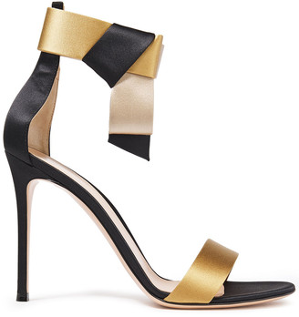 Gianvito Rossi Geisha 100 Bow-embellished Color-block Silk-satin Sandals