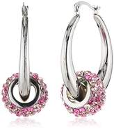 Crystelle Silber Creole Earrings 925 Sterling Silver and Pink/ Multi-Coloured Swarovski Crystals 340210021