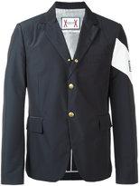 Moncler Gamme Bleu contrast diagonal stripe blazer - men - Polyamide/Polyester/Cupro - 2