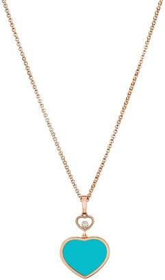 Chopard Happy Hearts 18K Rose Gold, Diamond & Turquoise Pendant Necklace