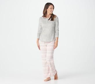 Muk Luks Butter Knit Henley with Fleece Pant PJ Set