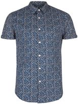 Topman Navy Blotchy Printed Short Sleeve Shirt