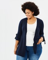Evans Ribbed Long-Line Cardigan with Tie Sleeve Detail