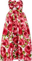 Michael Kors Strapless Floral-Print Jacquard Midi Dress