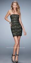 La Femme Metallic Strapless Lace Homecoming Dress