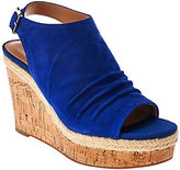 Franco Sarto As Is Suede Ruched Open-toe Wedge Sandals - Trellis