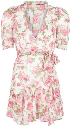LoveShackFancy Arlo floral-print silk-chiffon mini dress
