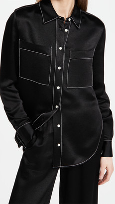Proenza Schouler White Label Dobby Crepe Double Pocket Shirt