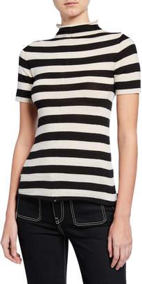 KHAITE Nidia Striped Mock-Neck Short-Sleeve Sweater
