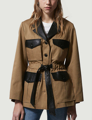 The Kooples Belted cotton and leather jacket