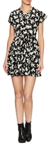 Saint Laurent Silk Print Flared Dress