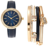 Adrienne Vittadini ADST1753 Gold-Tone & Navy Watch & Bracelet Set