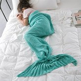 Rongbenyuan knitted Mermaid Tail Blanket for Adults Teens, Crochet Snuggle Mermaid,All Seasons Seatail Sleeping Bag Blanket