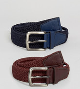 French Connection 2 Pack Plaited Belt in Burgundy and Navy