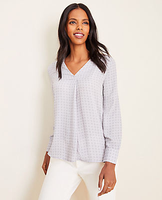 Ann Taylor Petite Checked Mixed Media Pleat Front Top
