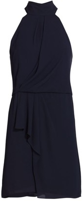 Halston Mockneck Sleeveless Draped Short Dress