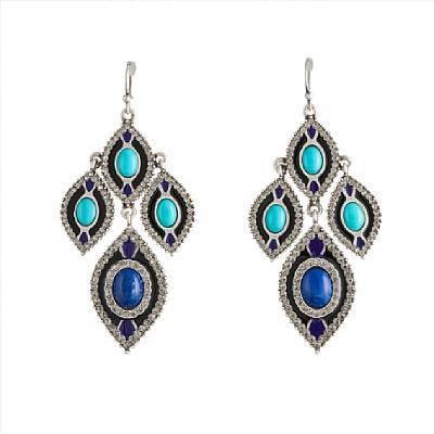 Lee Angel Linear Enamel Earring Royal/Turquoise