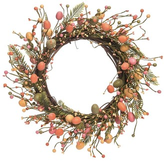 Transpac Wood 20 in. Multicolor Easter Pastel Egg Wreath