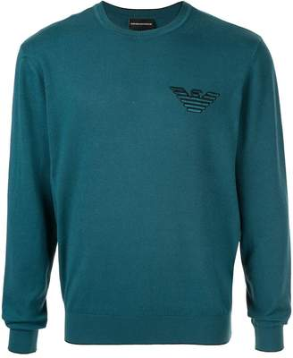 Emporio Armani embroidered eagle logo pullover