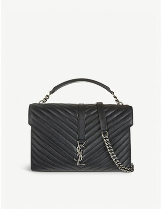 Saint Laurent Ladies Black Quilted Monogram Collège Leather Satchel