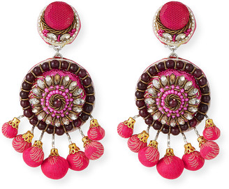 Ranjana Khan Beaded Circle Clip-On Earrings w/ Mini Poms