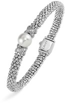Lagos Sterling Silver Luna Button Pearl Diamond X Rope Bracelet