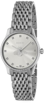 Gucci G-Timeless Slim Silver Dial Stainless Steel Bracelet Watch
