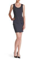 GUESS Asymmetric Stripe Sheath Dress