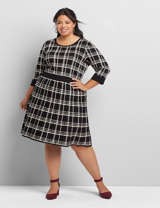 Lane Bryant Plaid 3/4-Sleeve Fit & Flare Sweater Dress