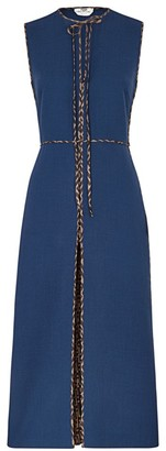 Fendi Logo Trim Wool Crepe Sheath Dress