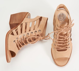 Vince Camuto Nubuck Lace-Up Heeled Sandals- Chesten