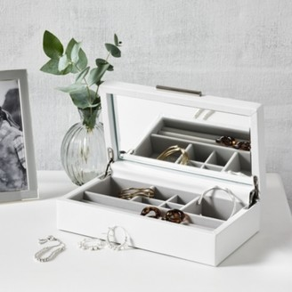 The White Company Leather Medium Jewellery Box , White, One Size