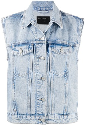 AllSaints Sleeveless Denim Jacket