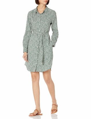 Daily Ritual Georgette Long-Sleeve Button Down Shirt Dress