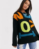 Noisy May oversized jumper with contrast letters in blackmulti