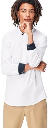 Find. Amazon Brand Men's Half Placket Grandad Collar Shirt