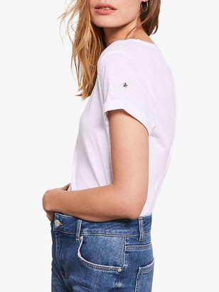 Mint Velvet White Stud Star T-Shirt, White