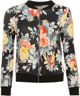 GirlzWalk ® Women Floral Flower Print Bomber Jacket Long Sleeve Zip Ladies Blazer