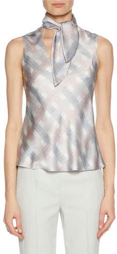 Giorgio Armani Tie-Neck Graphic-Print Silk Shell