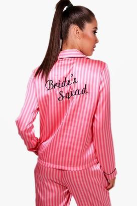 boohoo Candy Stripe Brides Squad Pants Set